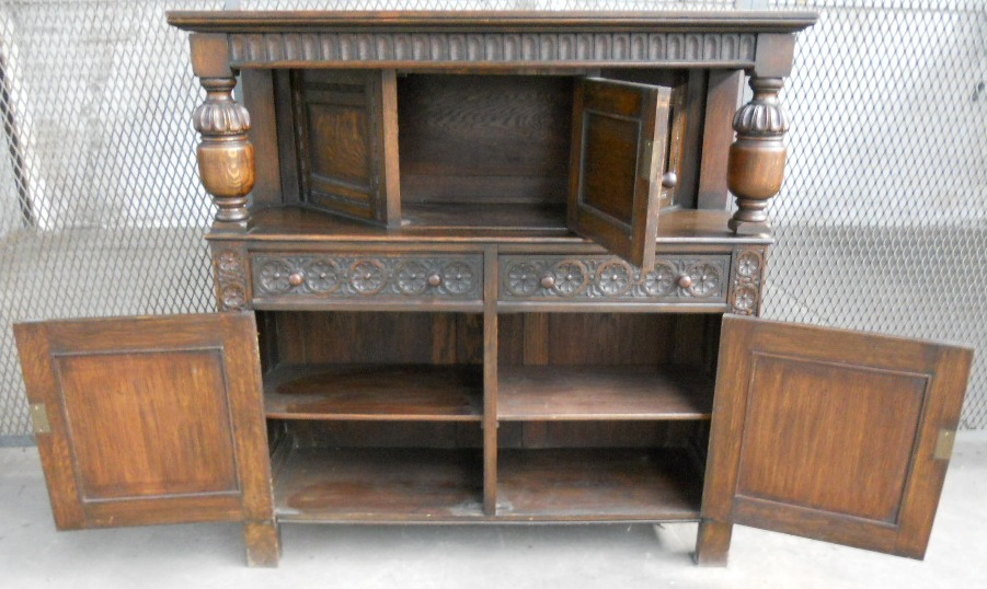 antique oak dining chairs 24x24 outdoor chair cushions jacobean style heavily carved court cupboard - sold